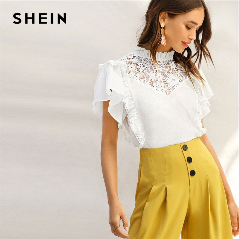 f619a0fb4d953 SHEIN Lady Frill Trim Neck Lace Yoke Ruffle Detail White Top Summer Cute  Stand Collar Cotton Solid Womens Tops And Blouses