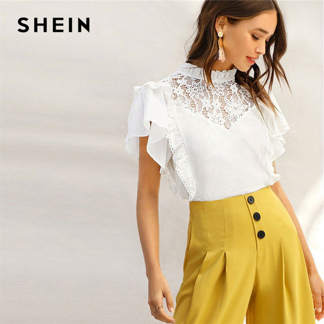 f9e42b8417d0ec SHEIN Lady Frill Trim Neck Lace Yoke Ruffle Detail White Top Summer Cute  Stand Collar Cotton Solid Womens Tops And Blouses