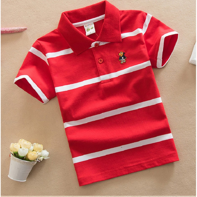 2-10-16Y Baby Boys Striped Summer Polo Shirts Cotton Short Sleeve Turn-down Collar Buttoned Sports Tees School Children Clothing
