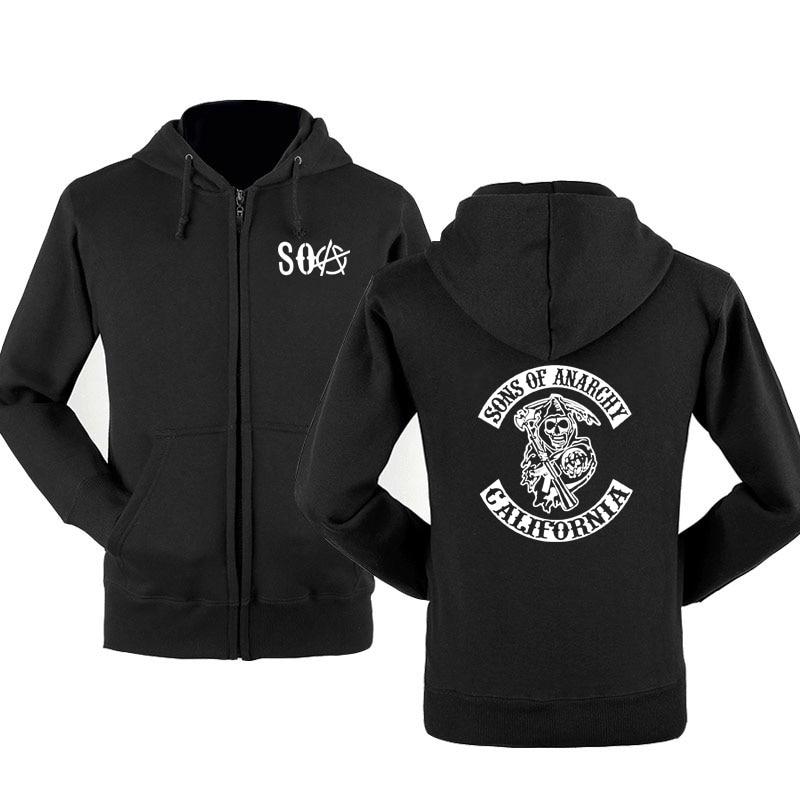 Zipper Hoodies Sweatshirt Fleece Anarchy Men Sportswear Warm SOA SAMCRO Hip-Hop New-Fashion