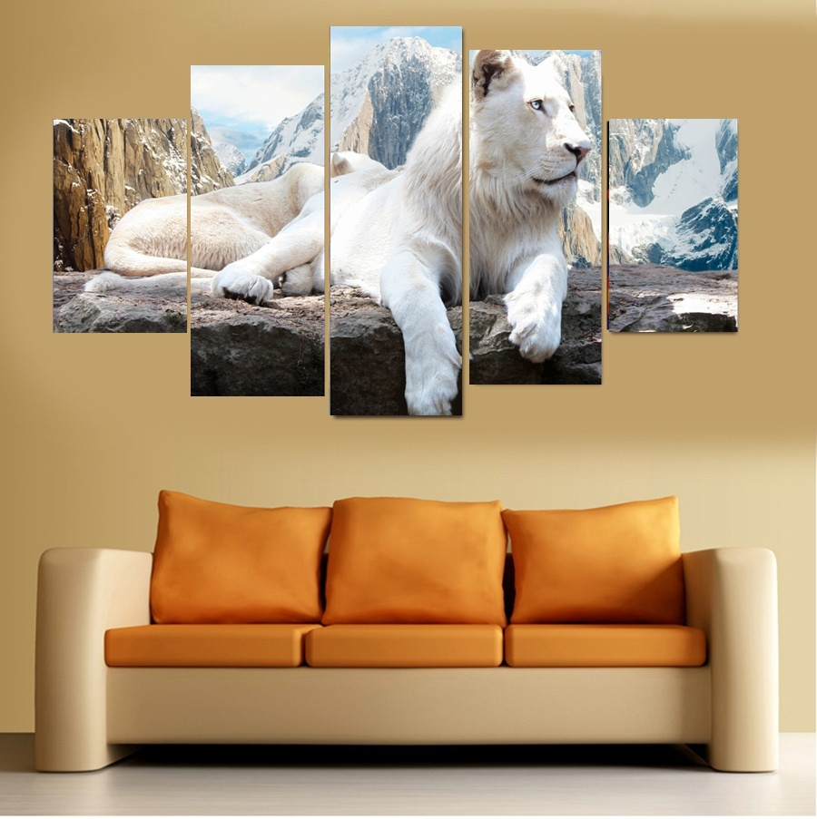 5 Panel White Lion Pictures Oil Painting Wall Decor Canvas Pop Art Cuadros High Defination Prints For Living Room (No Frame)