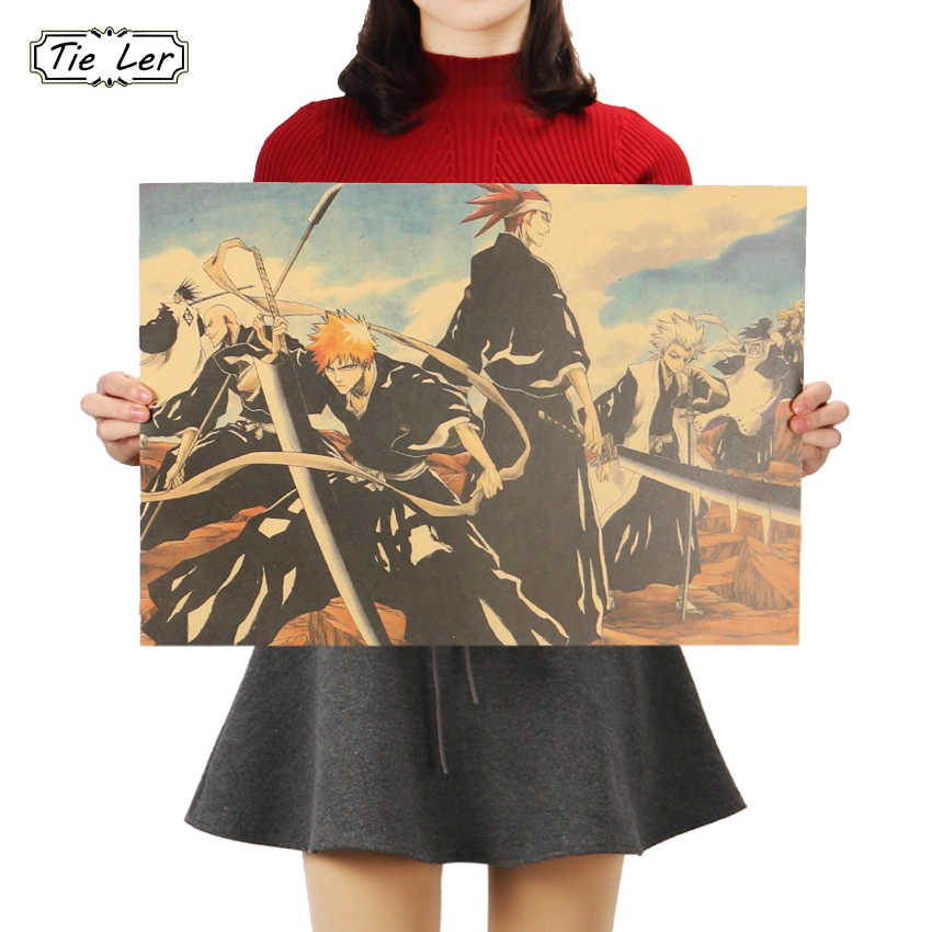 TIE LER Famous Anime Movie Bleach Old Retro Kraft Paper Poster Bar Cafe Decorative Painting Room Wall Stickers 51.5X36cm