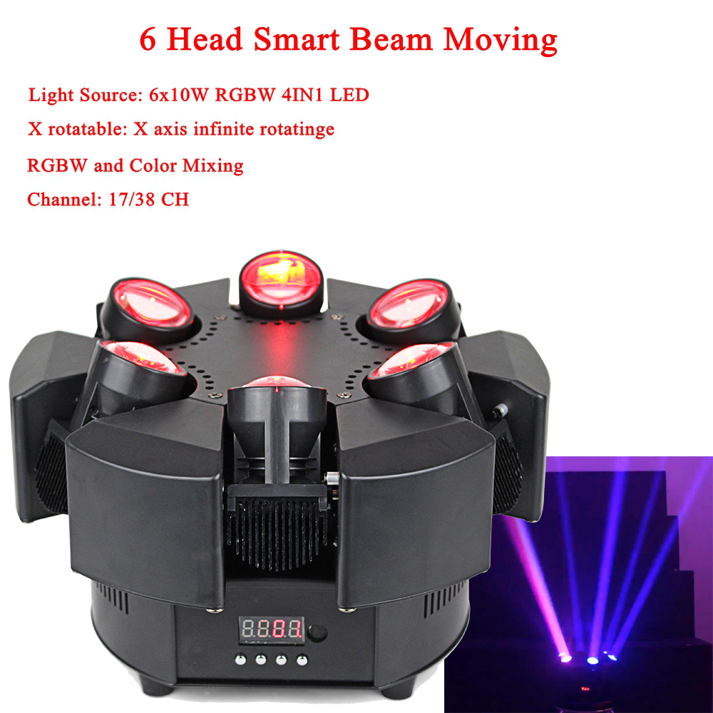 2019 New Arrival LED 6 Head Smart Beam Moving RGBW 17/38CH DMX Stage Lights Dj Led Moving Head Beam Light