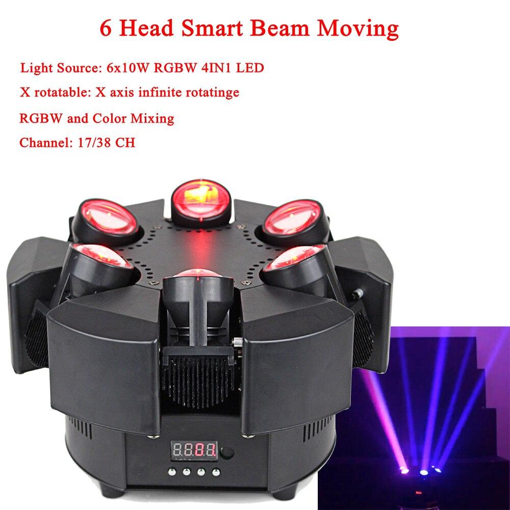 2019 New Arrival LED 6 Head Smart Beam Moving RGBW 17/38CH DMX Stage Lights Dj Led Moving Head Beam Light