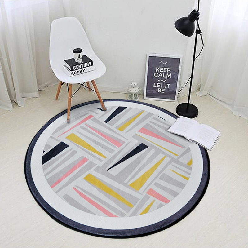 High Quality Creative Geometric Pattern Round Rugs Living Room Doormat Cartoon Carpets Door Floor Mats Bedroom Carpet Kids Room