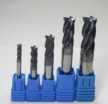 5PCS 4mm 6mm 8mm 10mm 12mm tungsten carbide end mills set  milling cutter bits HRC45  4 four flutes  CNC machine 45HRC for steel