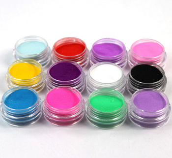 12 Pcs Mix Colors Acrylic Nail Art Dust Powder Decoration for Tips, GCE0257