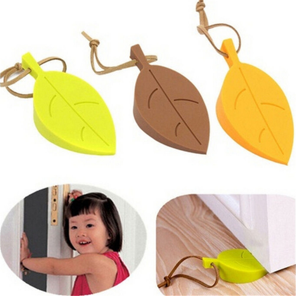 New Cute Autumn Leaf Style Finger Safety Protection Silicone Rubber Door Stopper Wedge Kid Baby Safe Doorways Home Decor