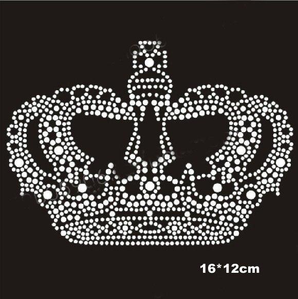 8pcs Lot Nice crown design hotfix rhinestones heat transfer design iron on motifs  patches 3ab3f20d07ab