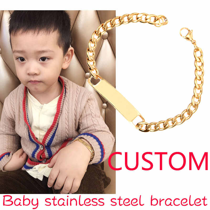 Baby Name Bracelet Personalized Custom Stainless Steel Bracelet Simple Bangle Engraved Name Motto Gold Silver Charm Bracelet