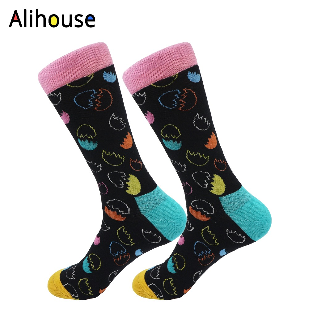 Alihouse Mens Combed Cotton Socks Colorful Funny Eggshell Pattern Casual Crew Brand Harajuku Happy Party DressCrazy Socks