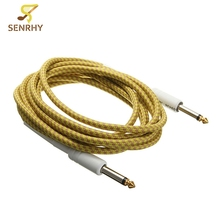 1Pcs 3M/10FT Guitar Cable Cord Yellow Guitar Lines Golden Tipped Plugs Connectors For Bass Guitar Parts & Accessories