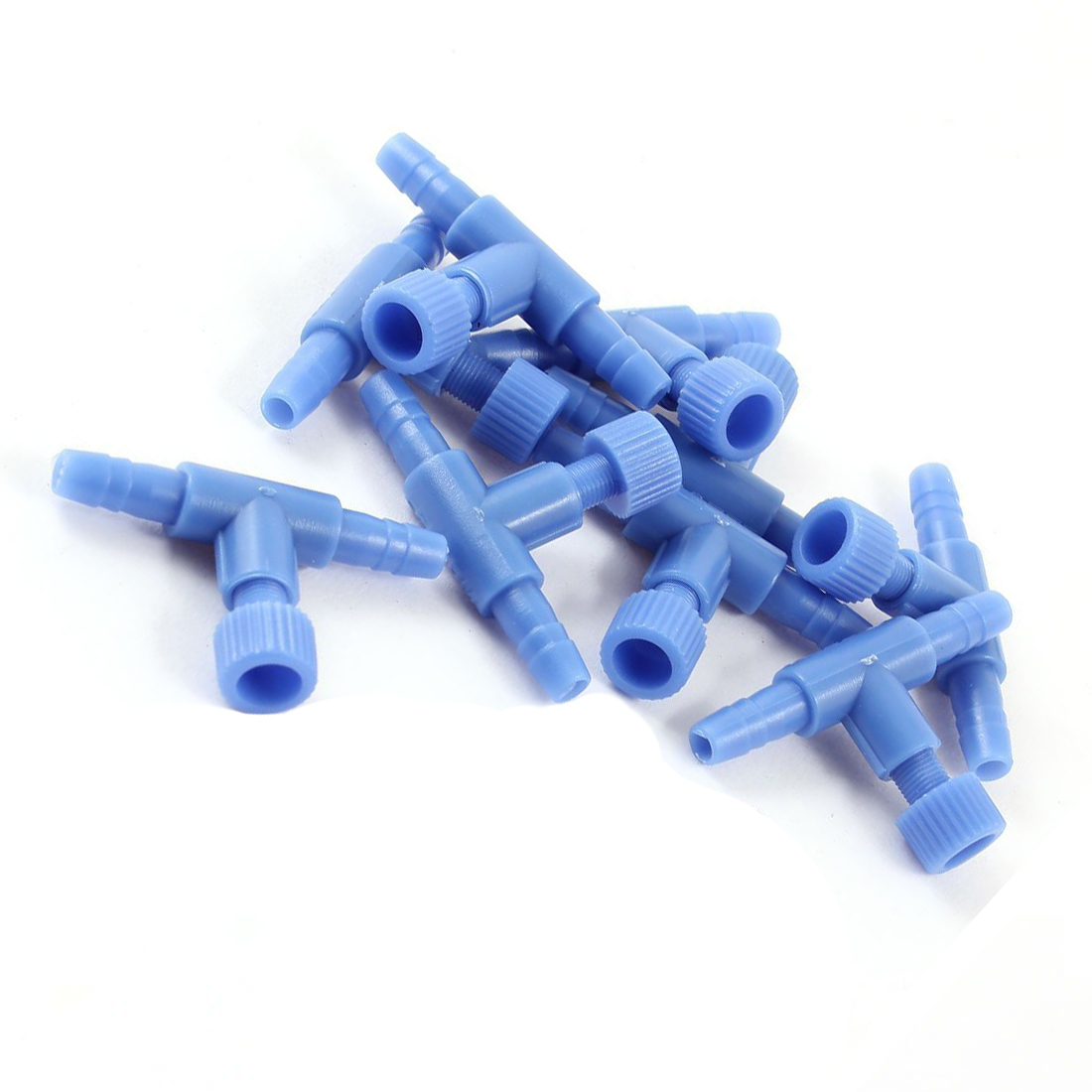 Ventil Blau Dauerhafter Service Schneidig 10 Stücke Kunststoff Aquarium 2 Way Luftpumpe Regelventile