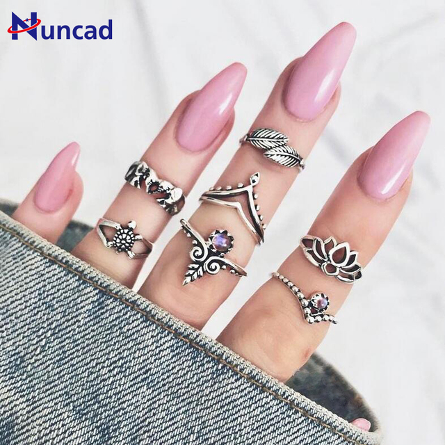 New Vintage Boho Ring Set Elephant Crystal Finger Ring Women Flower Leaf Anel Jo