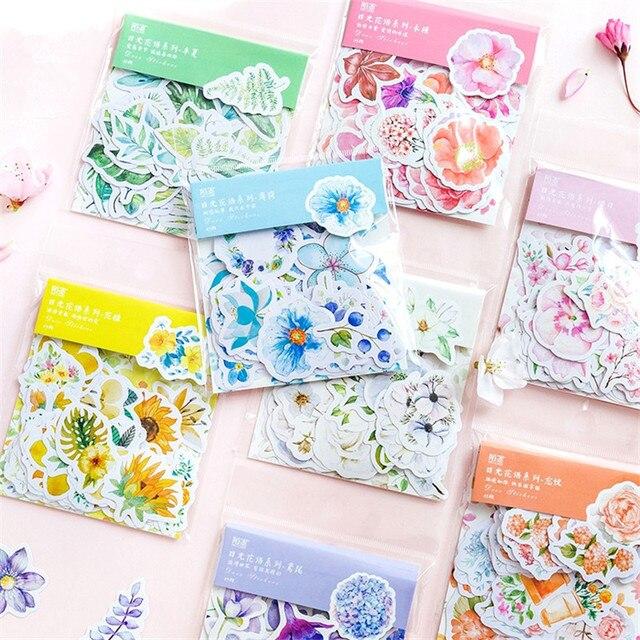 45 unids/pack Kawaii japonés decoración diario lindo flor pegatinas Scrapbooking copos papelería suministros escolares