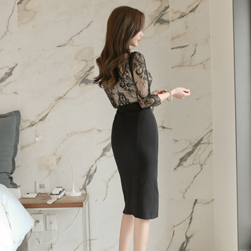 H Han Queen Women Summer Business Pencil Dress 2019 New Sexy Patchwork Sheath Bodycon Dresses OL 3/4 Sleeve Lace Casual Vestidos