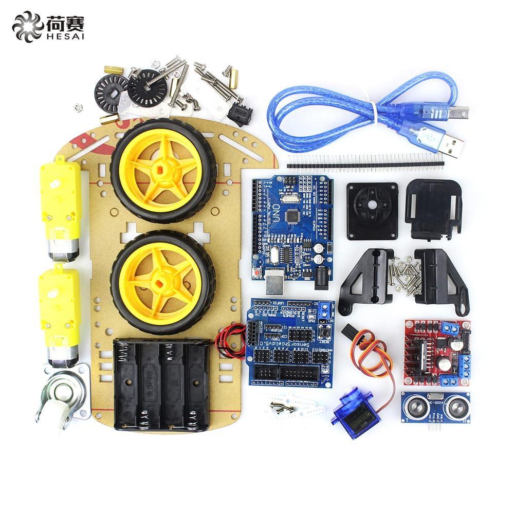 Motor Smart Robot Car Chassis Kit Avoidance tracking Speed Encoder Battery Box 2WD Ultrasonic module for
