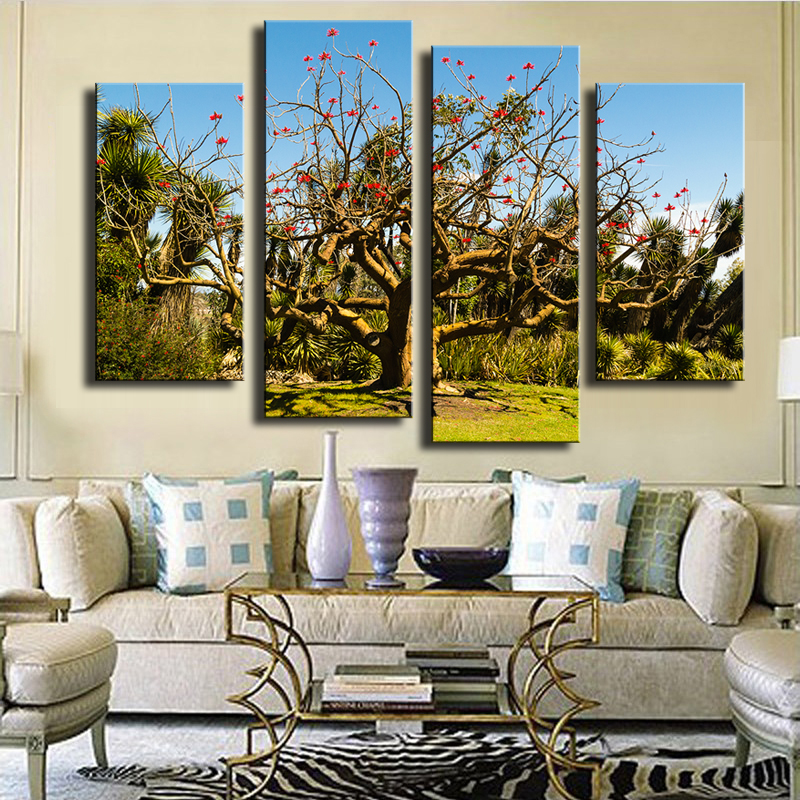4 Piece Tree Unusual Wall Painting Print On Canvas For Home Decor Ideas Paints Pictures Art No Framed