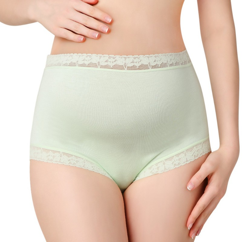 Pregnant Women Underwear High Waist Belly Support Solid Color Pattern Panties Breathable Cotton Adjustable Maternity Underwear A