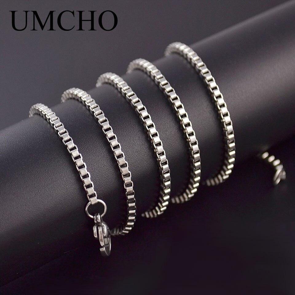 Umcho Echt 100% 925 Sterling Silber Halsketten Italien Box Kette 18 Zoll/43 Cm Kette Für Frauen Engagement Geschenke Feine Schmuck Verkaufsrabatt 50-70%