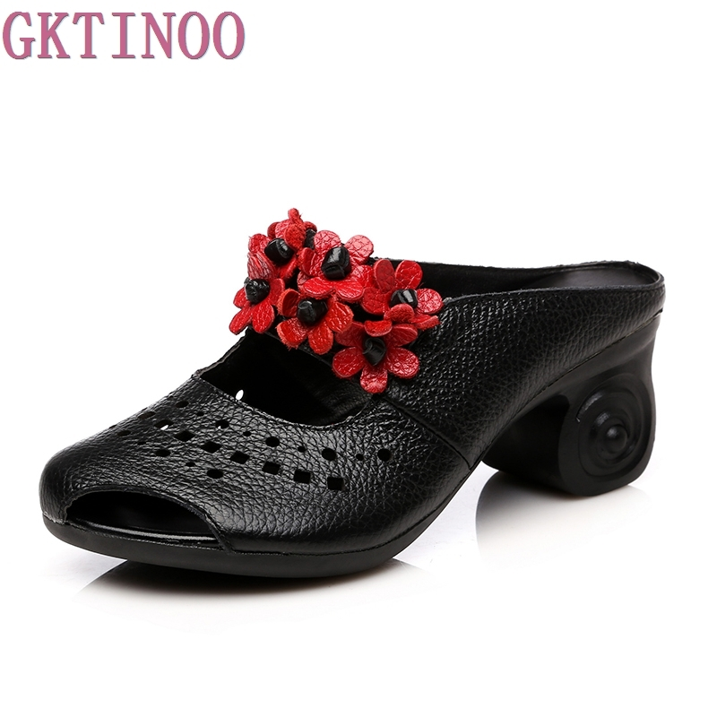 GKTINOO Fashion Flip Flops Thick Heels Handmade Flower Slides Genuine Leather Slippers For Women Sandals Slippers Summer Shoes 2018 new high end leather comfortable feet sandals classic sandals handmade leather slippers handmade leather slippers
