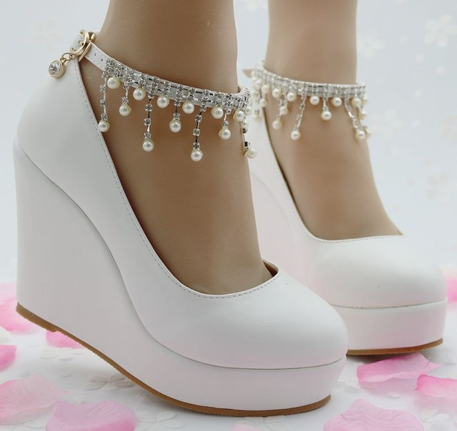 Woman High Heel Ankle Strap Heels Platform Wedge shoes Women Pump Wedge High Heels Platform  Sapato Feminino Shoes dress shoes