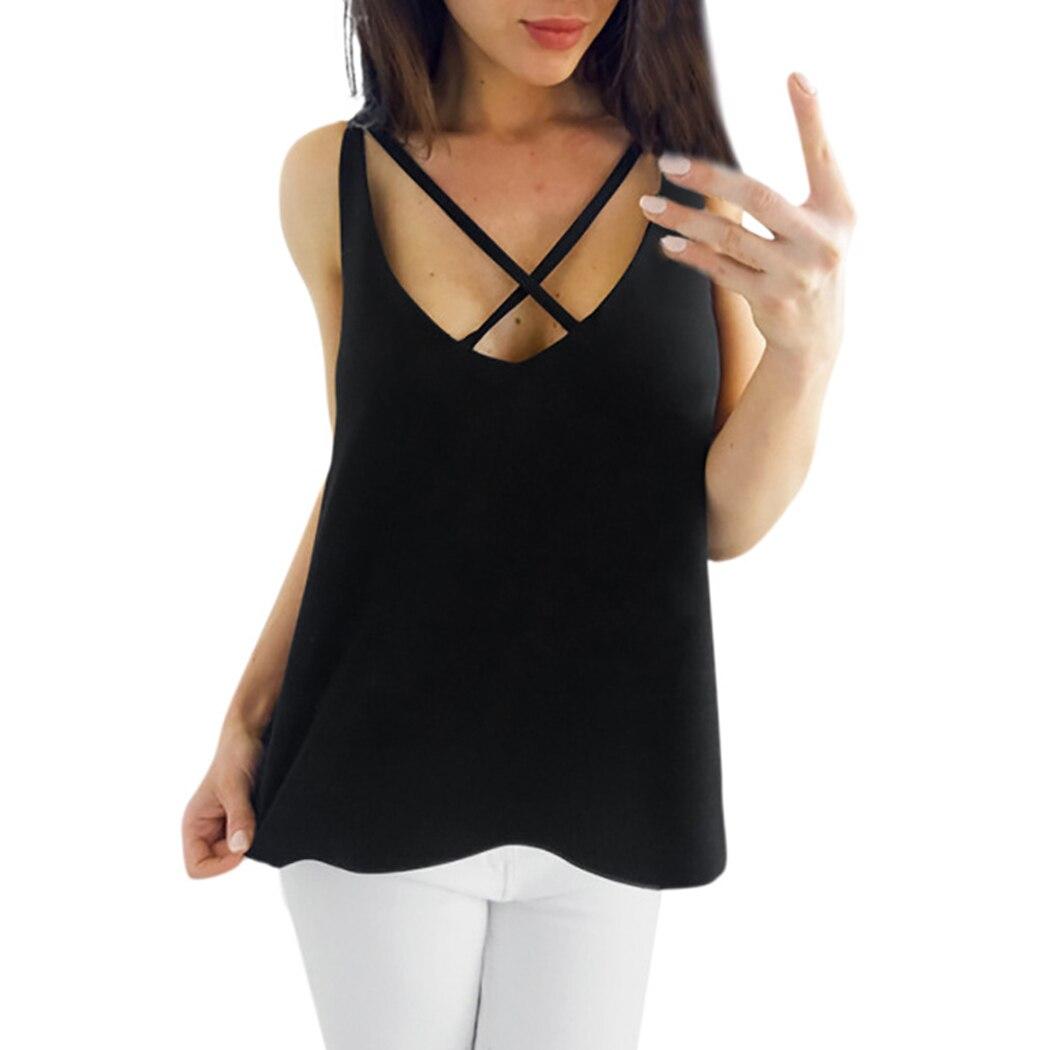 Tops Sexy Camisas Slim La Sólido Gasa Verano Casual light Blusa Color Cruzado Black white Sin Blusas Gray Vest Del Mujeres Elegante Frente 2018 Mangas 7q7fxwF