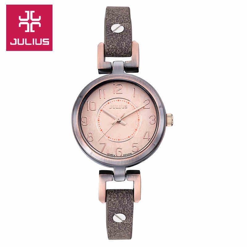 где купить Julius Lady Women's Watch Japan Quartz Fashion Leather Strap Wristwatch Shell dial Clock Girl Elegant Birthday Gift JA-845 по лучшей цене