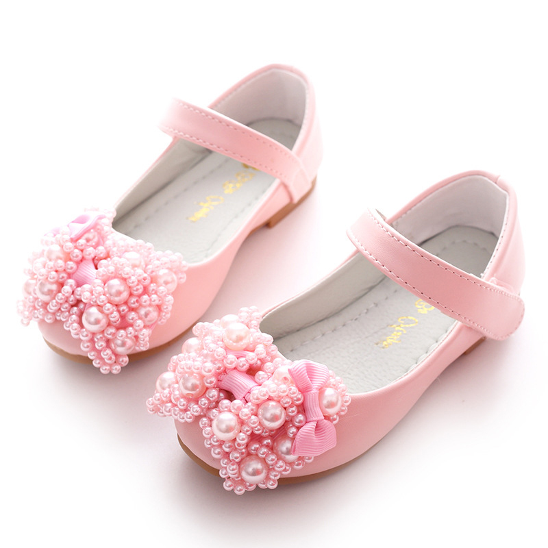 2018 new girl princess party childrens tennis flower girl pu leather childrens wedding white pink shoes soft sole casual shoes
