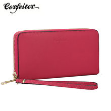 Corfeiter Women Genuine Leather Wristlet wallet Long zipper Arount Id Holders Money Purse Wallet(China)