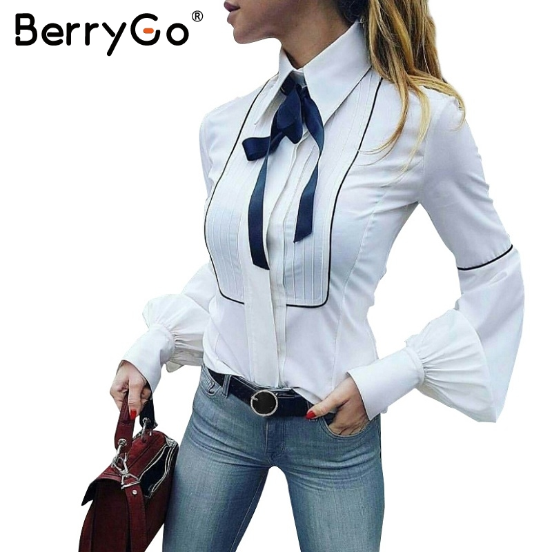 BerryGo Elegant puff sleeve white blouse shirt 2017 Autumn winter sleeve bow blouse women blusas Slim new tops chemise femme