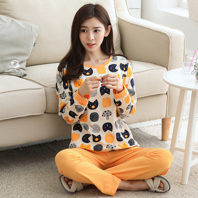 Cat Print Long Sleeve Cotton Pajamas