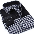 2017 New Mens Fashion Spring Autumn Plaid Grid Printing Stitching Turn-down Collar Casual Pockets Dress Shirt Plus Size Homme