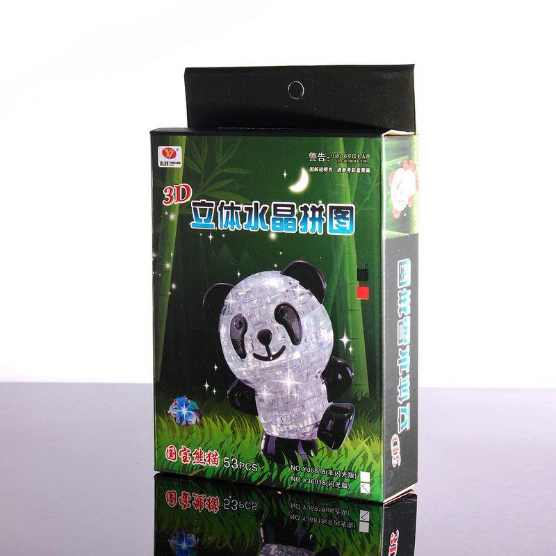 LeadingStar Panda 3D Crystal DIY Lovely Flashing Jigsaw Puzzle 53 PCS Great Educational Souptoys Toys for Children zk15