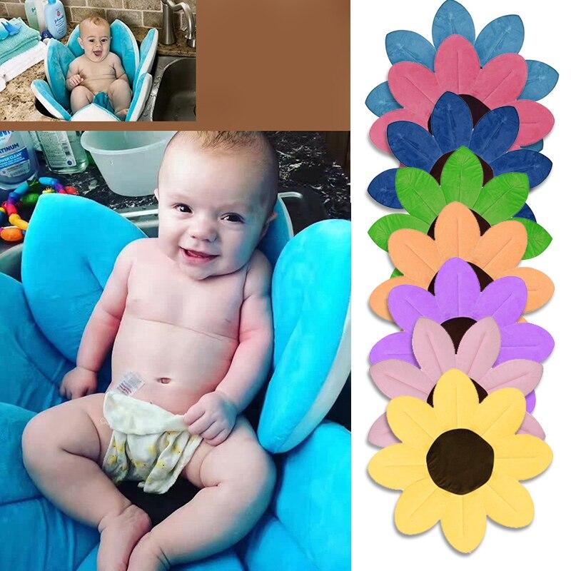 Bañera bebé recién nacido plegable flor forma suave asiento ducha fregadero bebé flor baño girasol cojín estera