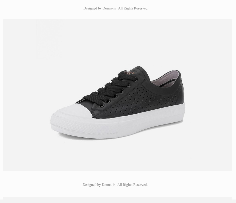 Donna-in 2019 New Women Flats Sneakers Genuine Leather Shoes Lace-up Cut-outs Flat Casual Women Shoes Hollow Summer Black White (23)