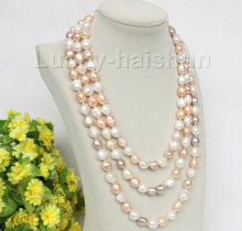 "natural 62"" 8-9mm baroque white pink purple pearls necklace"