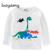 luoyamy Boys Girls White Gray T-shirt Autumn Style Children Clothes Next Costume Clothing Tees Baby Kids Tops
