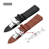 Leather Bamboo Watch Band Straps 12mm 14mm 16mm 18mm 19mm 20mm 21mm 22mm 2017 New Butterfly