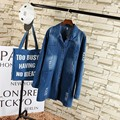 Hole Ripped Denim Trench Coat for Women 2016 Autumn New Casual Bleached Loose Turn-down Collar Single Breasted Long Trench TY098