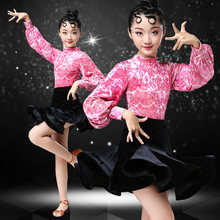 Latin Dance Dress Children Ballroom Dance Dresses Autumn Winter Long Sleeves Salsa Rumba Competition Stage Dancewear Costumes(China)