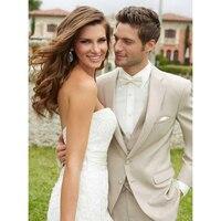 CUSTOM MADE LIGHT BEIGE GROOM TUXEDO,BESPOKE BEIGE WEDDING SUITS FOR MEN (Jacket+Pants+Vest+Tie+Pocket Square)