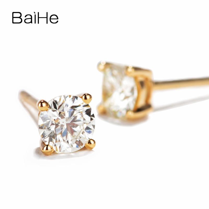BAIHE Solid 14K Yellow Gold 0.20ct H/SI 100% Genuine Natural Diamonds Wedding Trendy Fine Jewelry Elegant Unique Stud Earrings solid 18k rose gold unique stud earrings for women si h 100% natural diamonds earrings unique trendy party fine jewelry