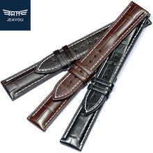 JEAYOU высококачественный ремешок из натуральной кожи аллигатора для часов Omega/Jaeger/Zenith/IWC 20 мм 21 мм 22 мм для мужчин