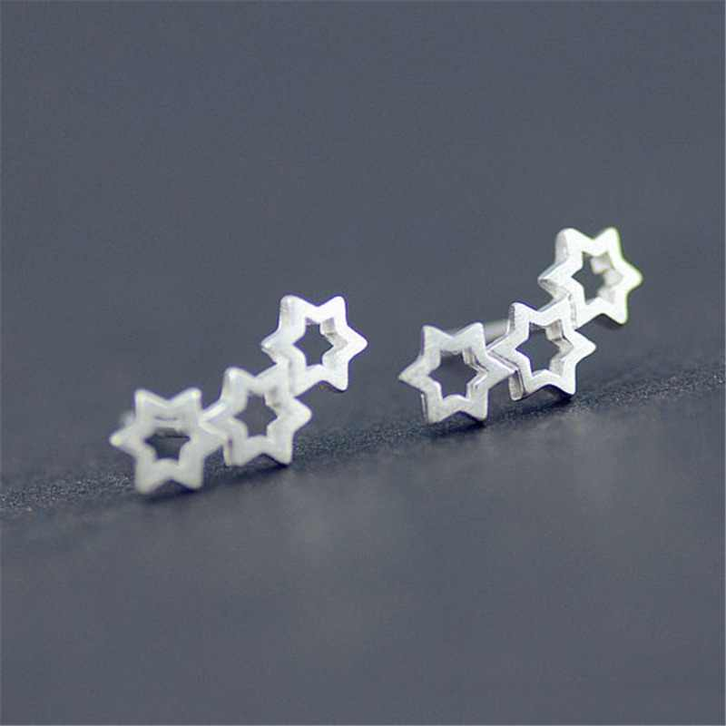 Real 100% 925 Sterling Silver Star Stud Earrings For Women Girl Sterling-silver-jewelry For Wedding Pendientes
