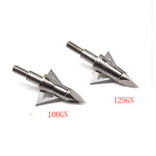 6pcs/pack 100/125 Grain Turn-milling Lintegrated Arrow Head 3 Fixed Blade Archery Broadheads For Compound /Recurve Bow Hunting