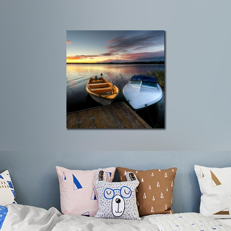 Wall decoration prints canvas piantings Seascapes tow boats on the beach for bedroom dec ...