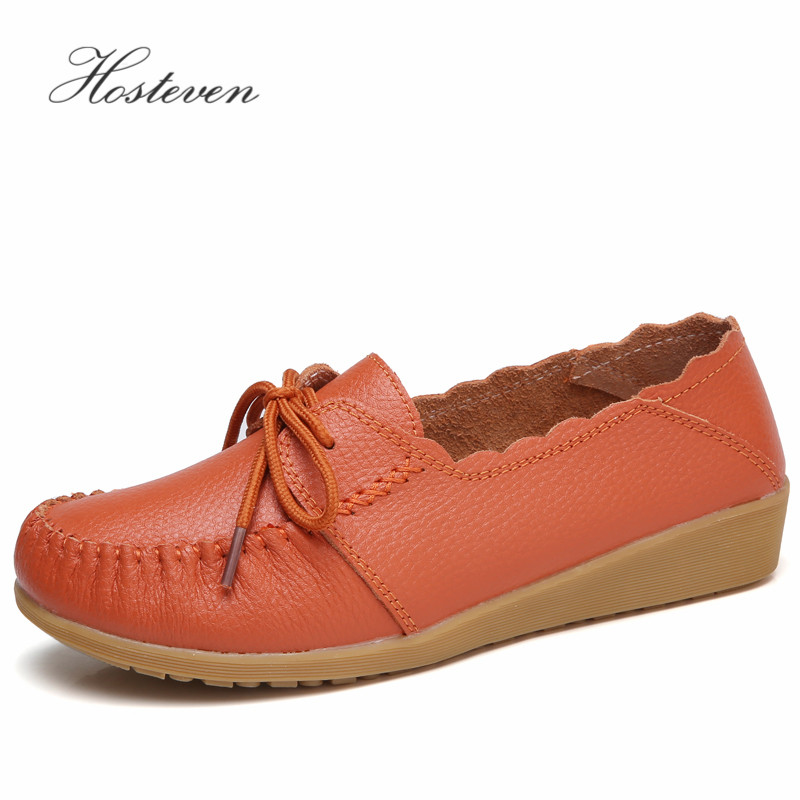 Hosteven Women's Shoes Fashion Casual Woman Driving Loafers Moccasins Soft Genuine Leather Flats Shoes Large Size 35-40 pl us size 38 47 handmade genuine leather mens shoes casual men loafers fashion breathable driving shoes slip on moccasins