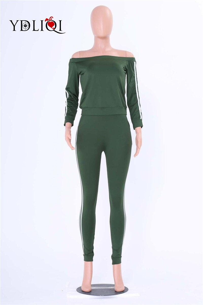 YDLIQI Women Autumn Tracksuit Striped Print Off Shoulder Suits Set Long Sleeve Sweatshirt Long Pants Sportswear 2 Piece Set suit