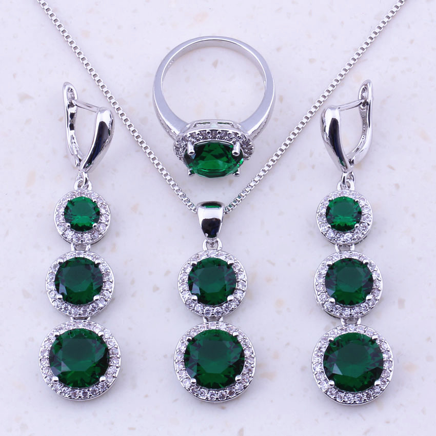 Attractive Green Imitation Emerald White CZ 925 Sterling Silver Jewelry Sets For Women Trend Fashion Jewelry Free Shipping J0022